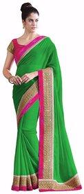 Bhuwal Fashion Green Chiffon Plain Saree With Blouse