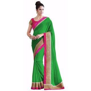 Bhuwal Fashion Green Chiffon Plain Saree With Blouse