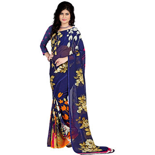 Stylobby Multicolor Georgette Floral Saree With Blouse