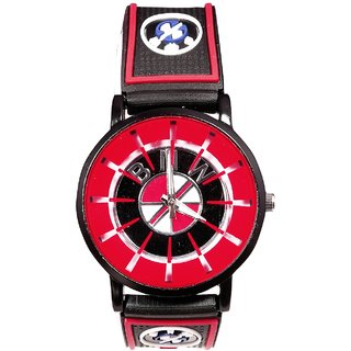 Men Red Dial Analod Casual leather Belt Watches