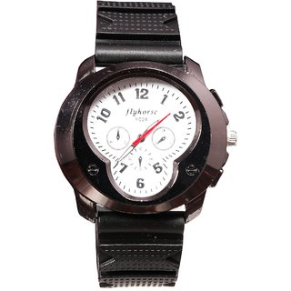 Men Black Flyhorse Party Analog Watches