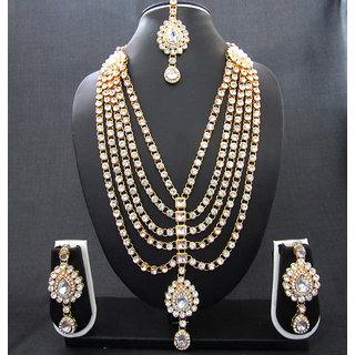 White Stone 5 Line Bridal Necklace Set