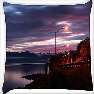 Snoogg Alaskan Dawn Digitally Printed Cushion Cover Pillow 12 x 12 Inch
