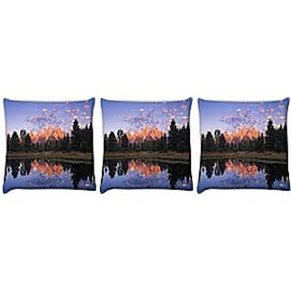Snoogg abstract nature Pack of 3 Digitally Printed Cushion Cover Pillows 12 x 12 Inch