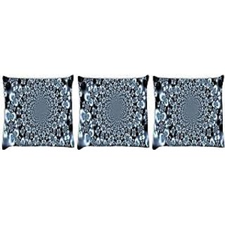 Snoogg abstract black design Pack of 3 Digitally Printed Cushion Cover Pillows 12 x 12 Inch
