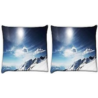 Snoogg Abstract Snow Pack Of 2 Digitally Printed Cushion Cover Pillows 14 X 14 Inch