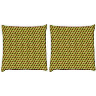 Snoogg Abstract Yellow Blocks Pack Of 2 Digitally Printed Cushion Cover Pillows 14 X 14 Inch