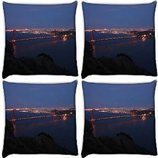 Snoogg Abstract Sealing At Night Pack Of 4 Digitally Printed Cushion Cover Pillows 12 X 12 Inch
