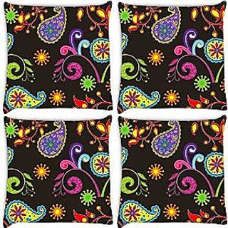 Snoogg Abstract Dark Pattern Pack Of 4 Digitally Printed Cushion Cover Pillows 12 X 12 Inch