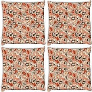 Snoogg Abstract Leaves In Cream Pack Of 4 Digitally Printed Cushion Cover Pillows 12 X 12 Inch