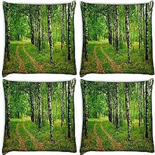 Snoogg Abstract White Trees Pack Of 4 Digitally Printed Cushion Cover Pillows 12 X 12 Inch