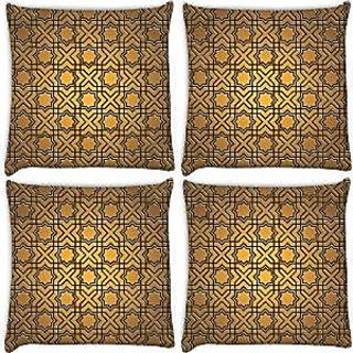 Snoogg Abstract Yellow Pack Of 4 Digitally Printed Cushion Cover Pillows 14 X 14 Inch