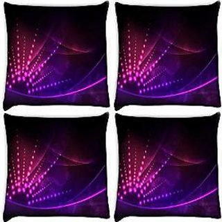 Snoogg Abstract Neon Design Pack Of 4 Digitally Printed Cushion Cover Pillows 16 X 16 Inch