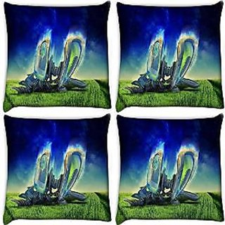 Snoogg Abstract Machine Radiant Pack Of 4 Digitally Printed Cushion Cover Pillows 12 X 12 Inch