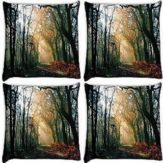 Snoogg Abstract Dense Forest Pack Of 4 Digitally Printed Cushion Cover Pillows 14 X 14 Inch
