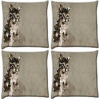 Snoogg Abstract Cat Pack Of 4 Digitally Printed Cushion Cover Pillows 16 X 16 Inch