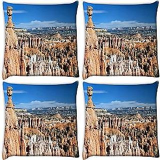Snoogg Abstract Mountain View Pack Of 4 Digitally Printed Cushion Cover Pillows 16 X 16 Inch