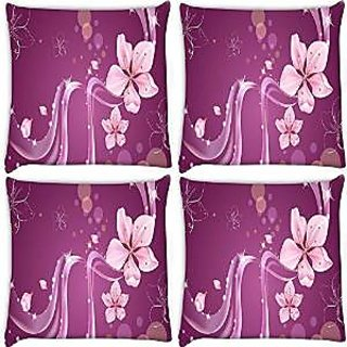 Snoogg Abstract Flower Pack Of 4 Digitally Printed Cushion Cover Pillows 16 X 16 Inch