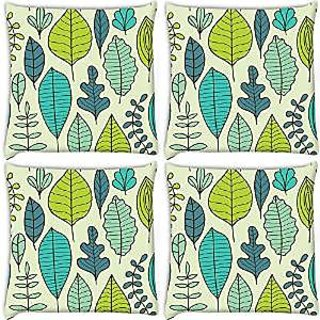 Snoogg Abstract Leaves Pack Of 4 Digitally Printed Cushion Cover Pillows 12 X 12 Inch