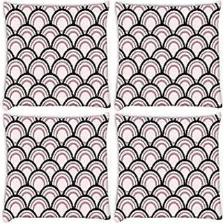 Snoogg Abstract Black Pattern Design Pack Of 4 Digitally Printed Cushion Cover Pillows 14 X 14 Inch