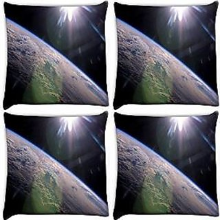 Snoogg Abstract Earth Pack Of 4 Digitally Printed Cushion Cover Pillows 14 X 14 Inch