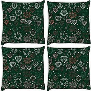 Snoogg Abstract Hearts Green Pattern Pack Of 4 Digitally Printed Cushion Cover Pillows 18 X 18 Inch