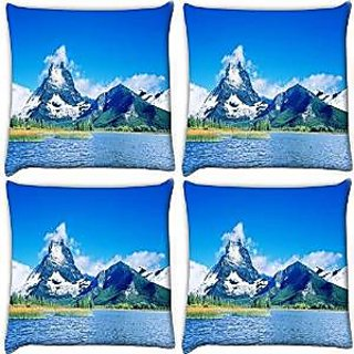 Snoogg Abstract Nature View Pack Of 4 Digitally Printed Cushion Cover Pillows 18 X 18 Inch
