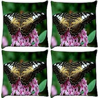 Snoogg Abstract Butterfly In Pink Flower Pack Of 4 Digitally Printed Cushion Cover Pillows 14 X 14 Inch