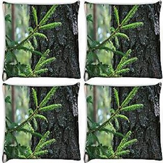 Snoogg Abstract Christmas Tree Pack Of 4 Digitally Printed Cushion Cover Pillows 18 X 18 Inch