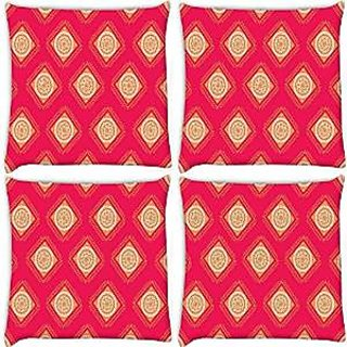 Snoogg Abstract Yellow Pink Pattern Pack Of 4 Digitally Printed Cushion Cover Pillows 16 X 16 Inch