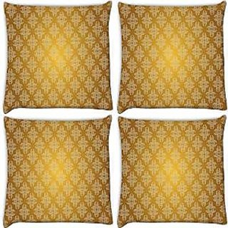 Snoogg Abstract Grey Yellow Pattern Pack Of 4 Digitally Printed Cushion Cover Pillows 16 X 16 Inch