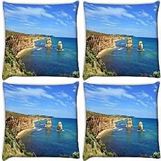 Snoogg Abstract Ocean View Pack Of 4 Digitally Printed Cushion Cover Pillows 16 X 16 Inch