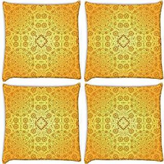 Snoogg Abstract Yellow Pattern Pack Of 4 Digitally Printed Cushion Cover Pillows 14 X 14 Inch