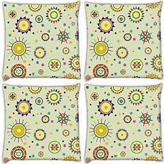 Snoogg Abstract Mixed Pattern Pack Of 4 Digitally Printed Cushion Cover Pillows 16 X 16 Inch
