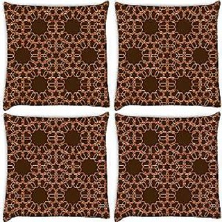Snoogg Abstract Brown And Yellow Pack Of 4 Digitally Printed Cushion Cover Pillows 12 X 12 Inch