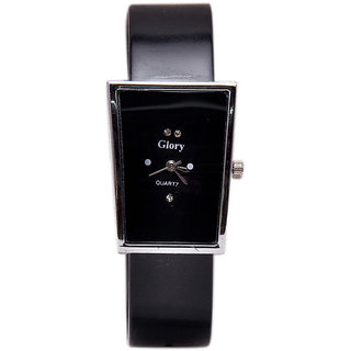Glory Rectangle Dial Black Pu Strap Womens Quartz Watch