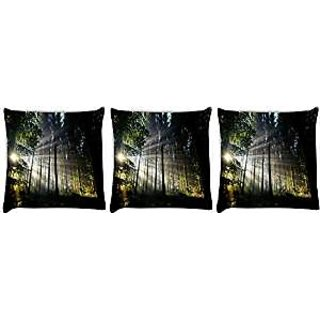 Snoogg abstract tall trees Pack of 3 Digitally Printed Cushion Cover Pillows 12 x 12 Inch