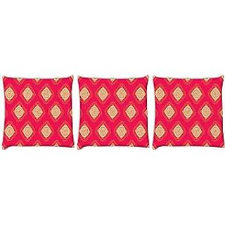 Snoogg abstract yellow pink pattern Pack of 3 Digitally Printed Cushion Cover Pillows 12 x 12 Inch