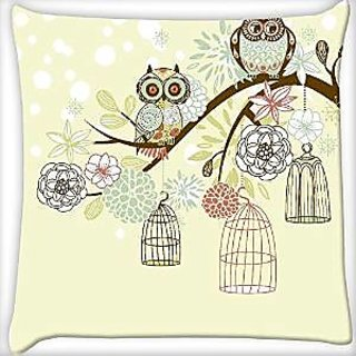Snoogg Owl Winter Floral Background Owls Out Of Their Cages Concept Vector Digitally Printed Cushion Cover Pillow 12 x 12 Inch