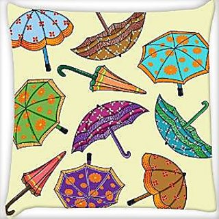 Snoogg Abstract Rainy Season Background With Umbrellas Digitally Printed Cushion Cover Pillow 12 x 12 Inch