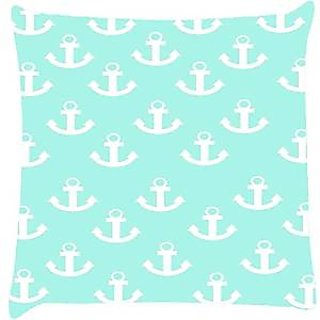 Snoogg light blue nautica anchor Digitally Printed Cushion Cover throw pillows 14 x 14 Inch