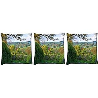 Snoogg abstract garden way Pack of 3 Digitally Printed Cushion Cover Pillows 12 x 12 Inch