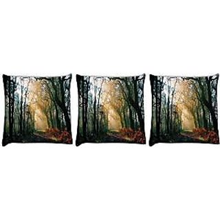 Snoogg abstract dense forest Pack of 3 Digitally Printed Cushion Cover Pillows 12 x 12 Inch