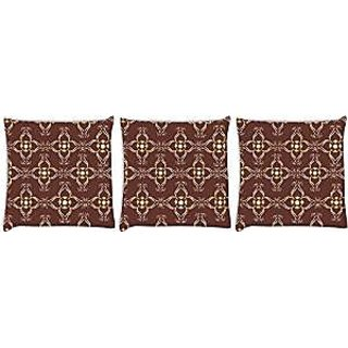 Snoogg abstract brown Pack of 3 Digitally Printed Cushion Cover Pillows 12 x 12 Inch