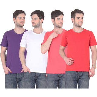 Fnme Men's Multicolor Round Neck T-Shirt (Pack of 4)