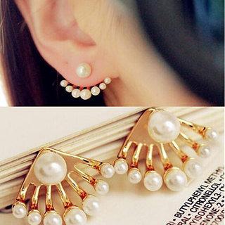 Designer Small Pearl Dragon Hand Ear Cuff Ear Stud Earrings, Women, Girls