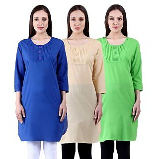 NumBrave Multicolor Cotton Plain Mid Kurtis (Pack of 3)
