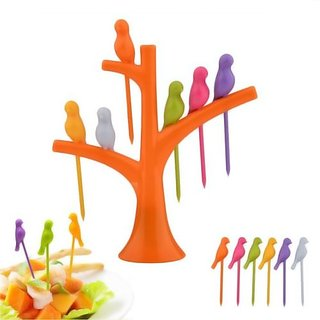 6pc Bird Shape Fruit Forks with Tree Shaped Stand Party tableware toothpick Tool