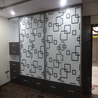 Modular Wardrobe with Painted Glass Sliding Doors