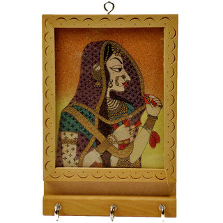 Rajasthani Gemstone Painting Key Holder Gift -121